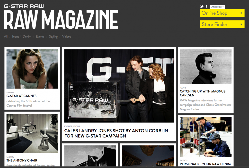 Een screenshot van het GStar Raw online magazine