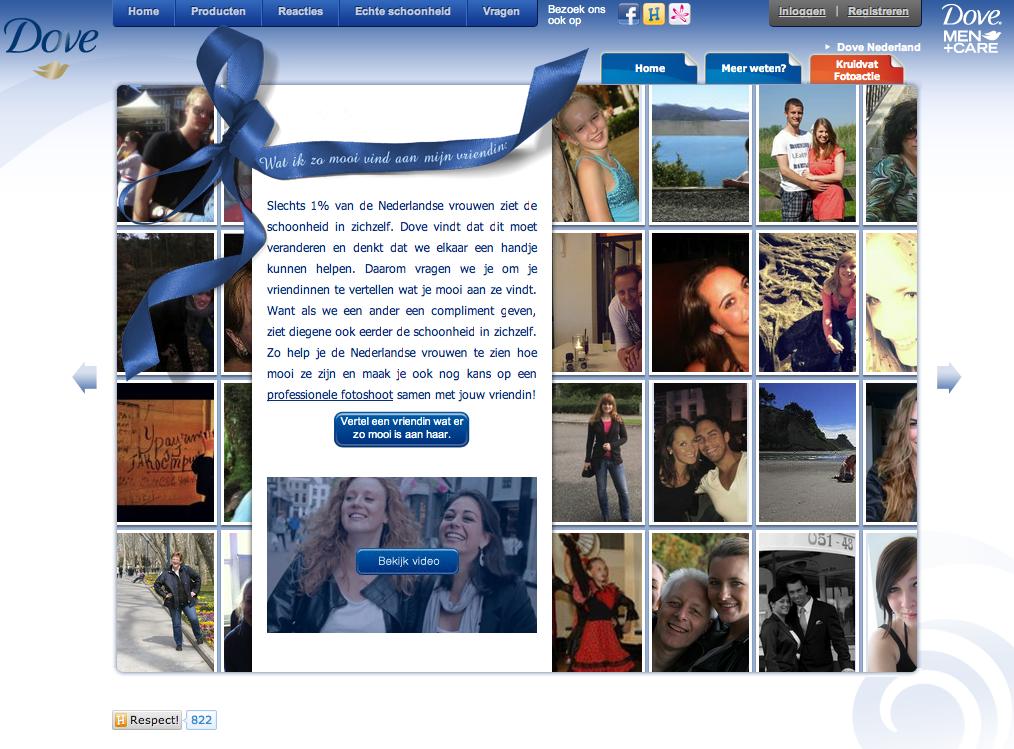 Screenshot van een Dove marketingcampagne op het internet met foto's van verschillende mensen
