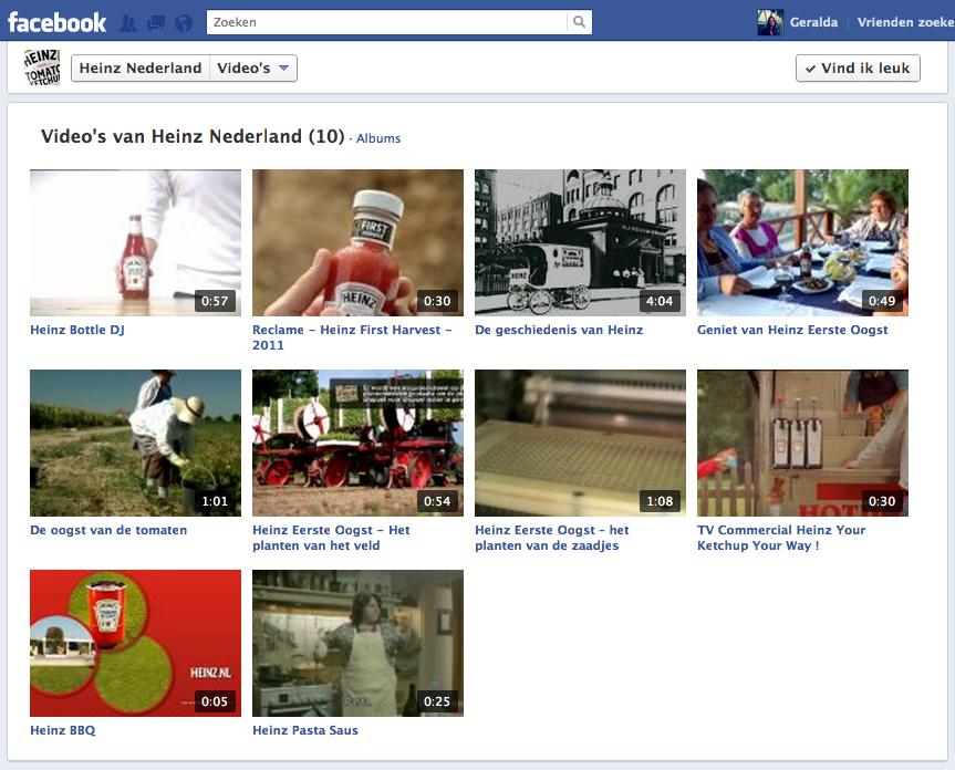 Een screenshot van de Facebookpagina van Heinz Nederland met verschillende foto's
