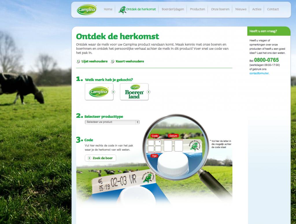 Een screenshot van de Campina website met een foto van een koe