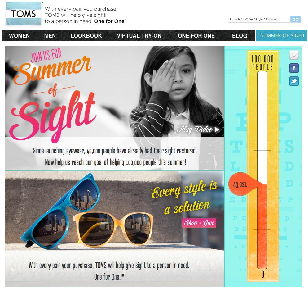 Een screenshot van de website van zonnebrillenbedrijf Toms