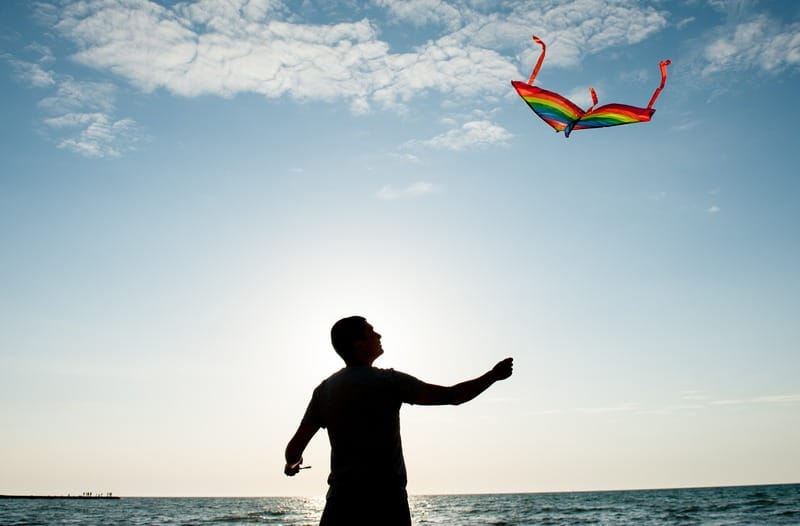 Silhouet van een persoon die een vlieger vasthoudt met een blauwe lucht met wolken op de achtergrond