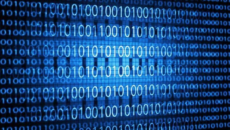 Blauw scherm met binaire code van nullen en enen