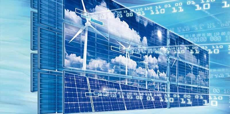 Lucht met zonnepanelen, windmolens en binaire code