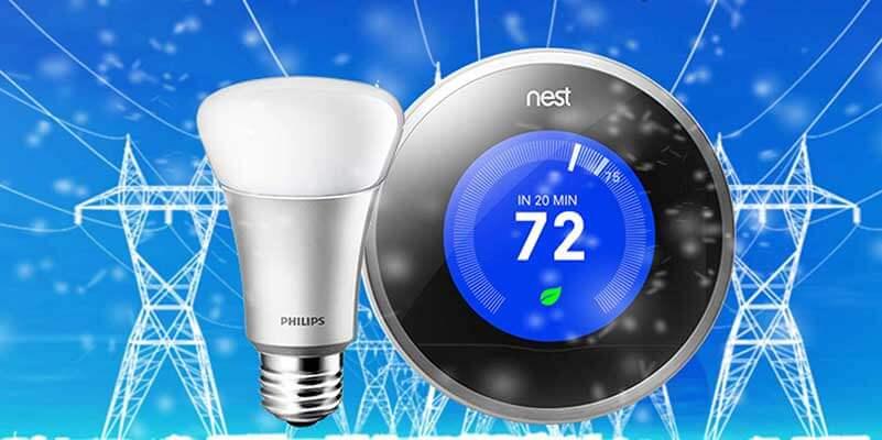 Elektriciteitspalen met LED-lamp en NEST thermostaat