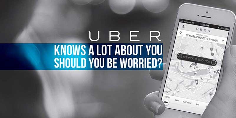 Smartphone met Uber-kaart en tekst
