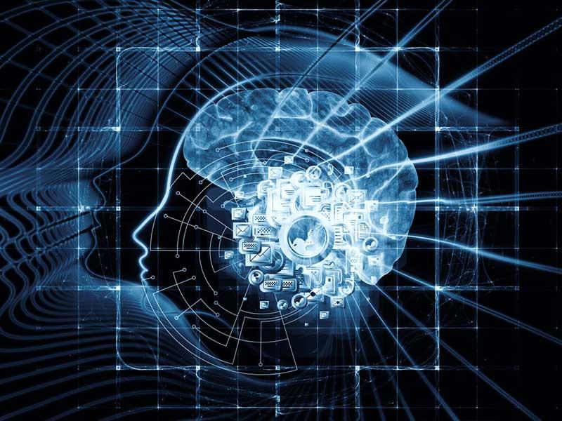 Digitale schedel met hersenen en computer icoontjes