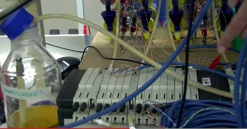Fles menselijke urine met een slangetje aangesloten op een batterij
