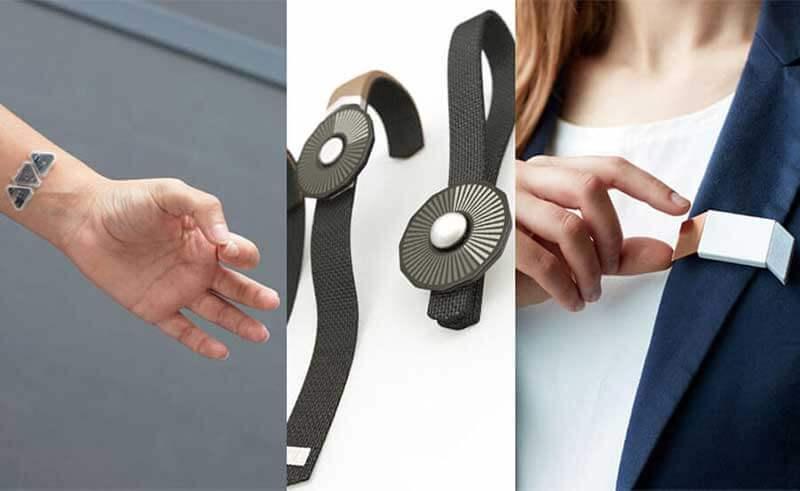 Samenstelling van drie foto's - hand met polsapparaat, een wearable en een vrouw met apparaat aan colbert