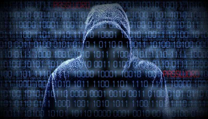 Hacker in hoodie met bedekt gezicht met binaire code en het woord 'password'
