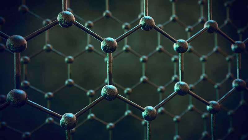 Een hexagonale atomische structuur die grafeen voorstelt