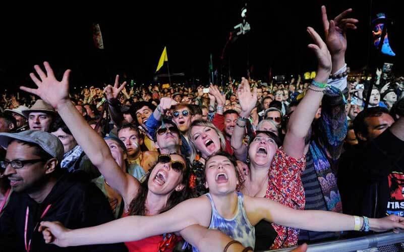 Blij juichend publiek bij een concert