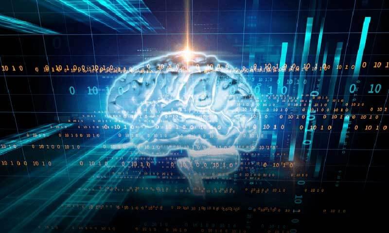 Digitale illustratie van een menselijk brein met een overlay van nummers en binaire code