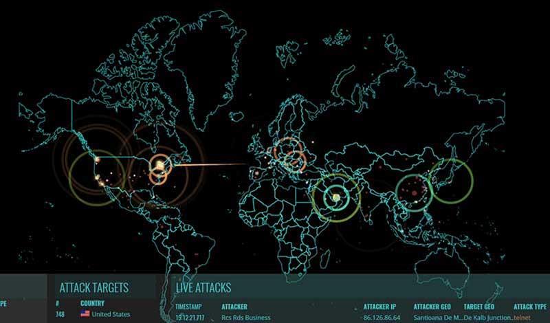 Digitale wereldkaart met informatie over cyberaanvallen
