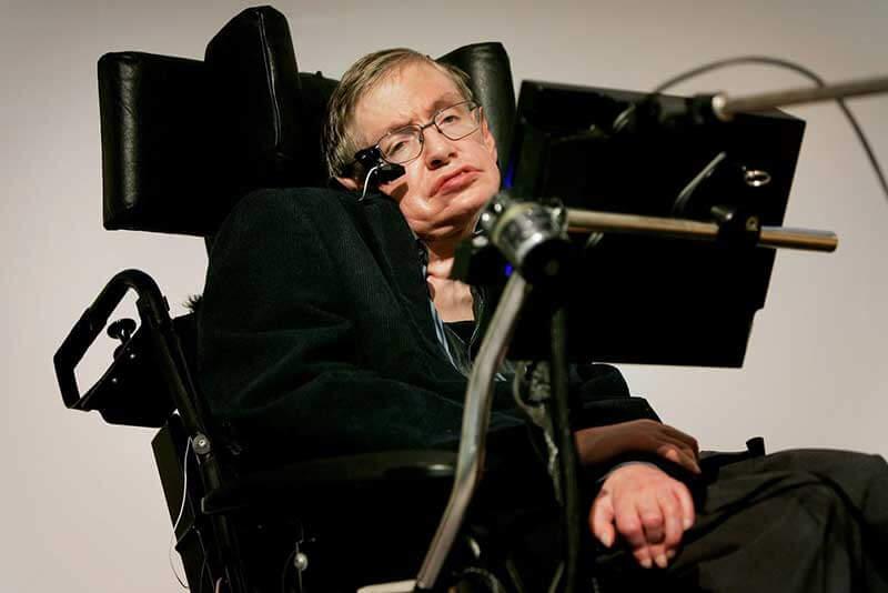 Stephen Hawking in zijn rolstoel