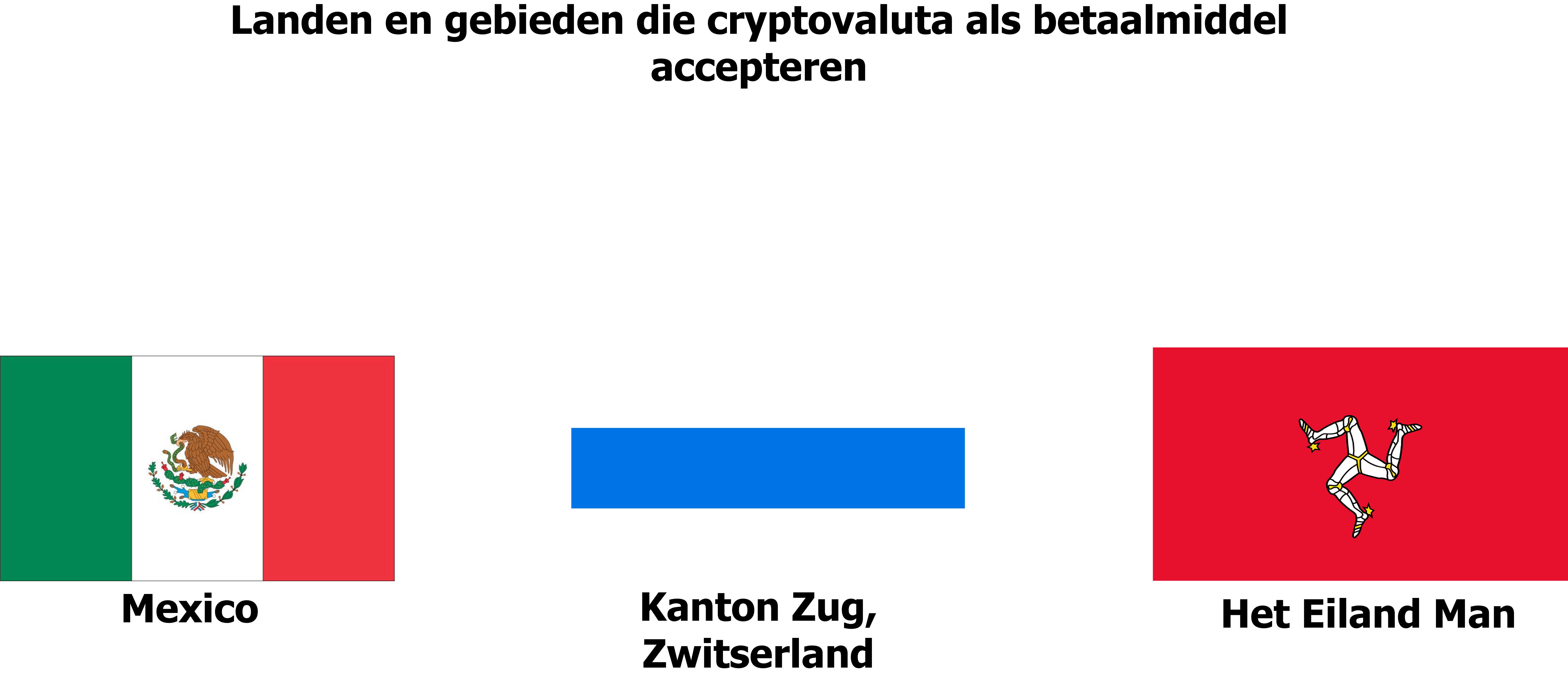 Afbeelding met de vlaggen van het eiland Man, het kanton Zug en Mexico, landen/regio's die  betalingen in cryptovaluta accepteren.