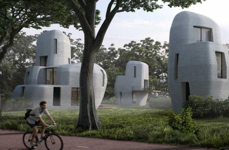 Futuristic round white homes in park