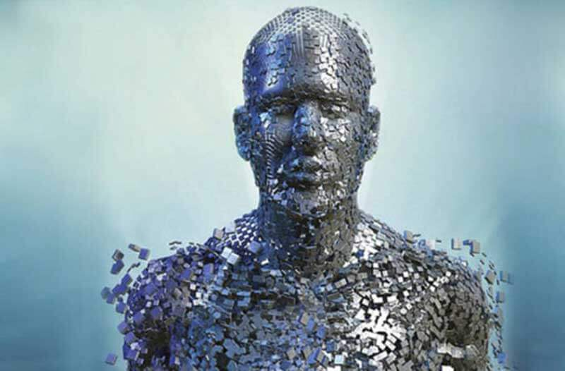 A puzzle-like portrait of a man with pieces resembling small digital devices falling off of him