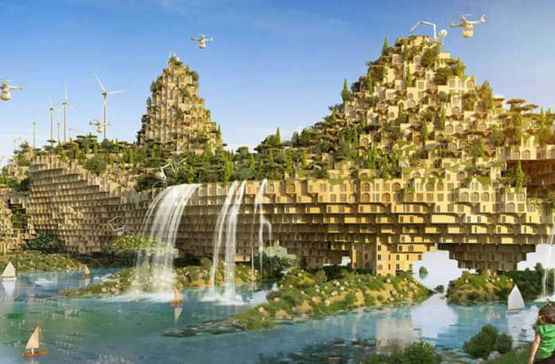 A futuristic city on water with lush greenery, waterfalls, wind turbines, and drones hovering around it
