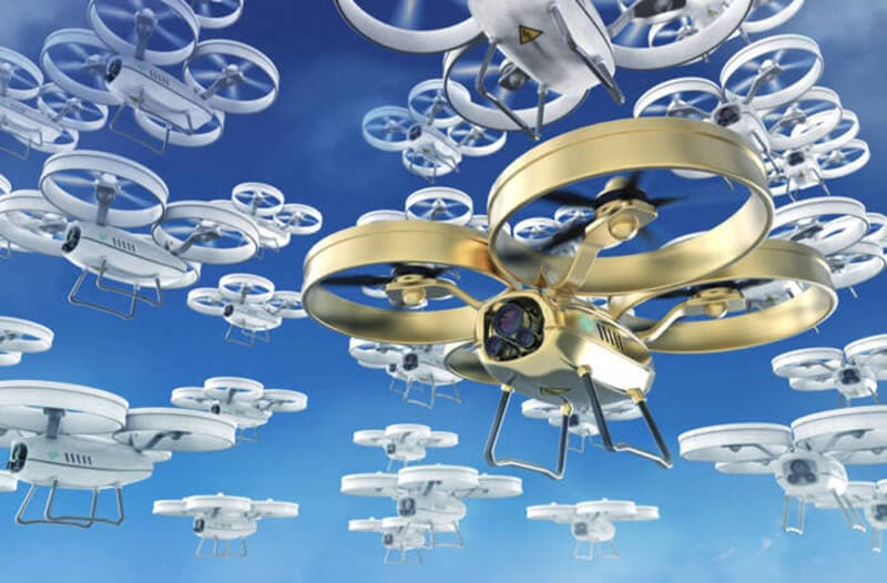 A swarm of white drones flying, with one golden drone in the foreground