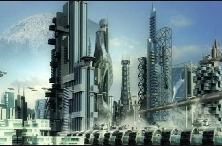 Een futuristische stad met vele hoge futuristische wolkenkrabbers