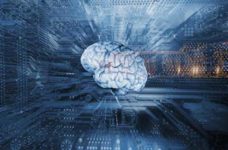 Digitale blauwe afbeelding van zwevend brein