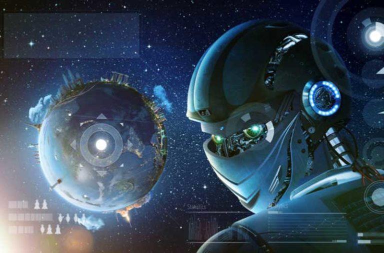 Close-up van een digitaal robothoofd met een planeet op de achtergrond