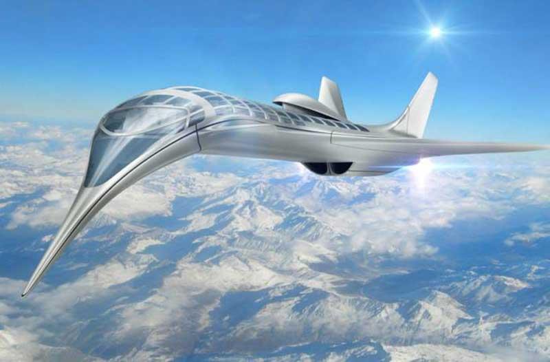 Futuristisch vliegtuig vliegt boven de wolken