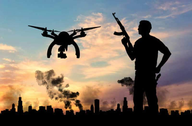 Black outlines of a man with a rifle and a drone hovering beside him