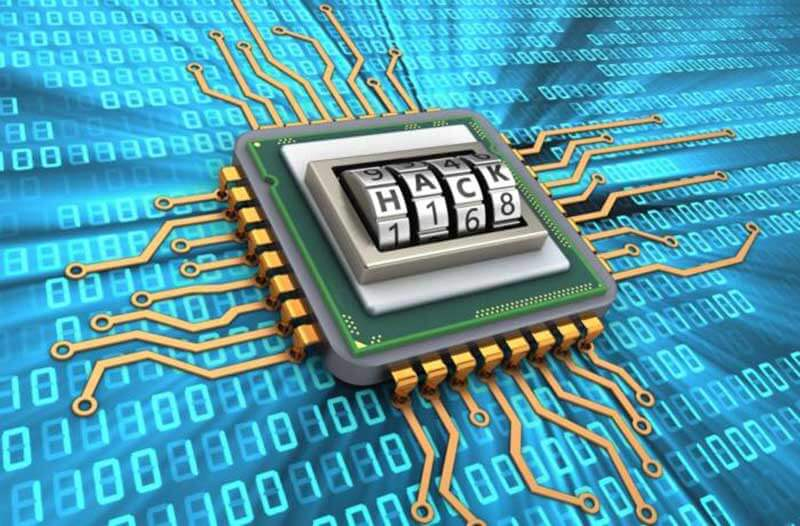 """A microchip with the word """"HACK"""" on it and binary code in the background"""