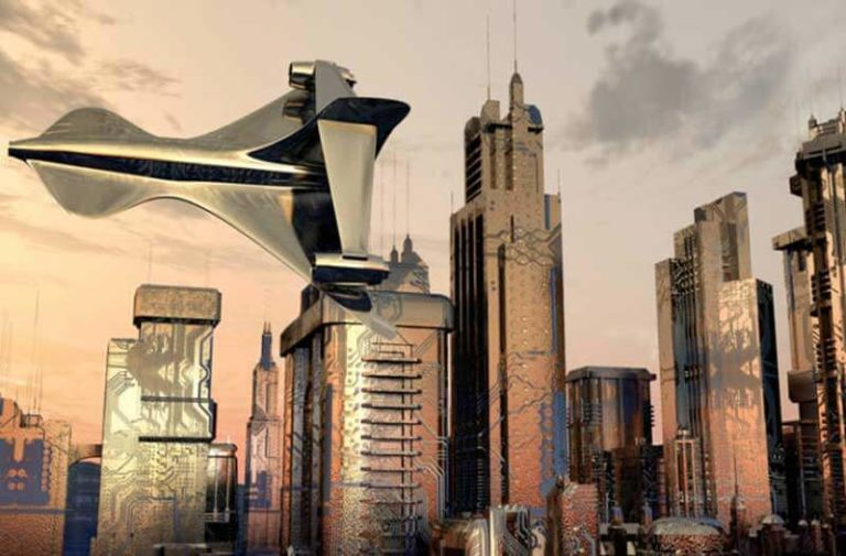 Futuristisch luchtvaartuig vliegt boven een futuristische stad