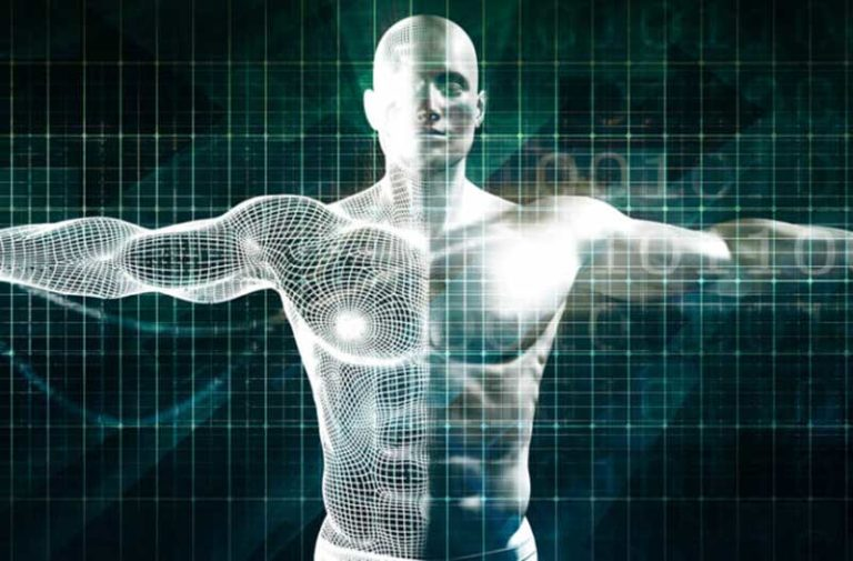 Een digitaal model van het bovenlijf van een man met een donkere achtergrond 