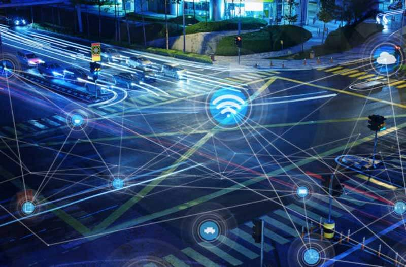 Traffic intersection with lots of digital information
