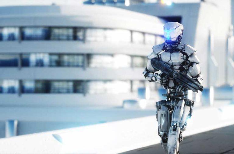 An armed robot walking down the street