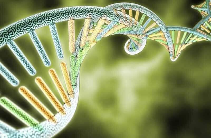 Virtuele DNA-streng met een groene achtergrond