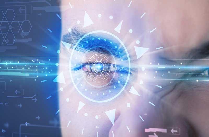 Man met digitale cirkel rond oog iris scanner|Face of man with digital circle around eye iris scanning||Man met digitale cirkel rond oog iris scanner|Face of man with digital circle around eye iris scanning