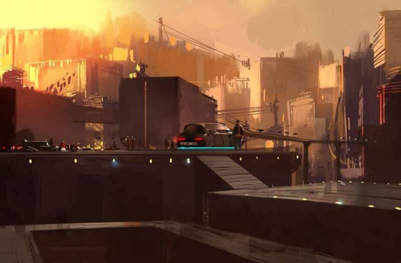 Silhouet van een stad met schitterende lichten en auto's bij zonsondergang