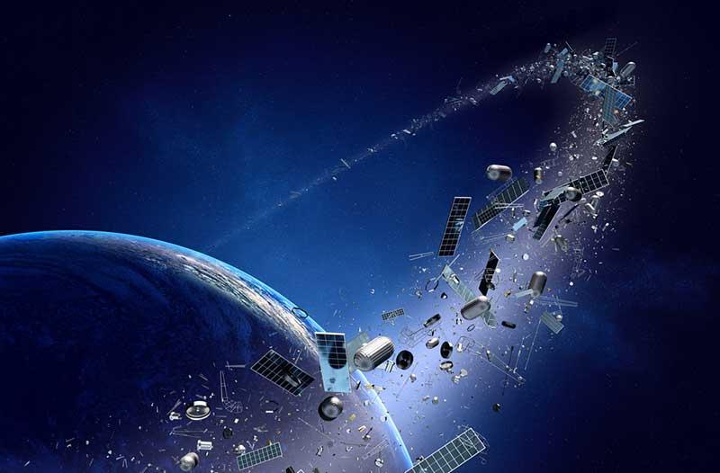 Digitale illustratie van ruimtepuin in een baan om een planeet