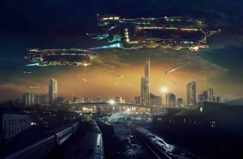 Futuristische vliegtuigen vliegen in het donker boven een stad