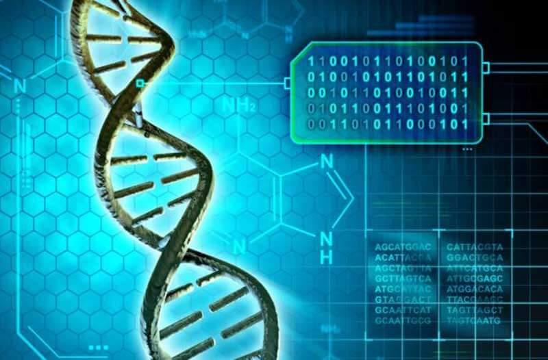 DNA-streng tegen een achtergrond van chemische formules en binaire code