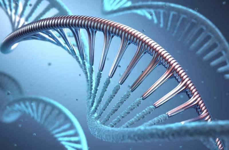 Zwevende DNA-moleculen in een blauwe vloeistof
