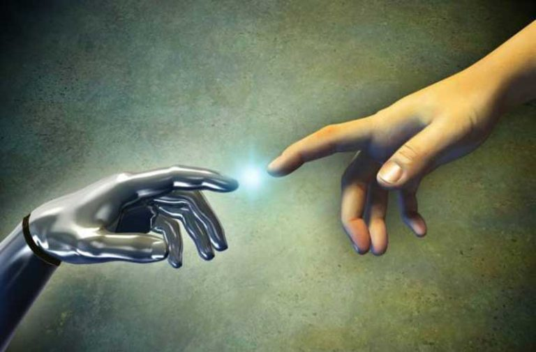 Michelangelo-geïnspireerde afbeelding van een robothand en mensenhand die elkaar bijna aanraken