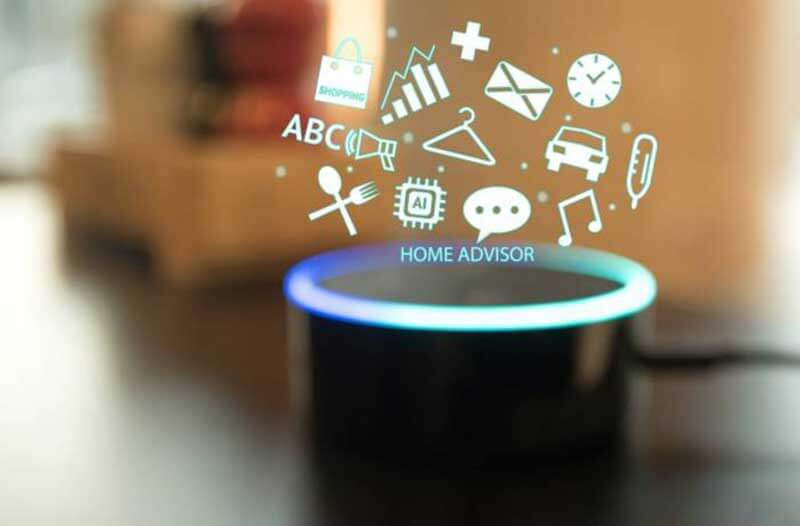 Virtual icons floating above an Amazon Echo device