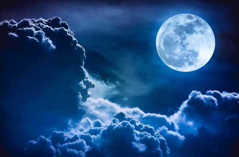 Sky with clouds and full moon