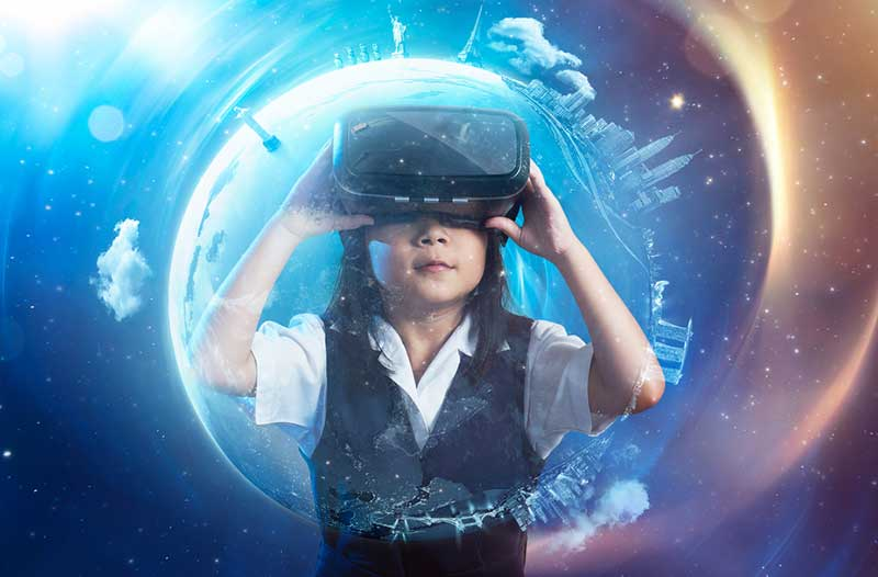 Child with VR headset against a virtual starry sky background