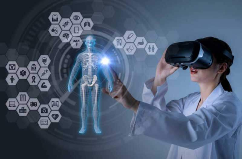Female medical professional wearing a VR headset