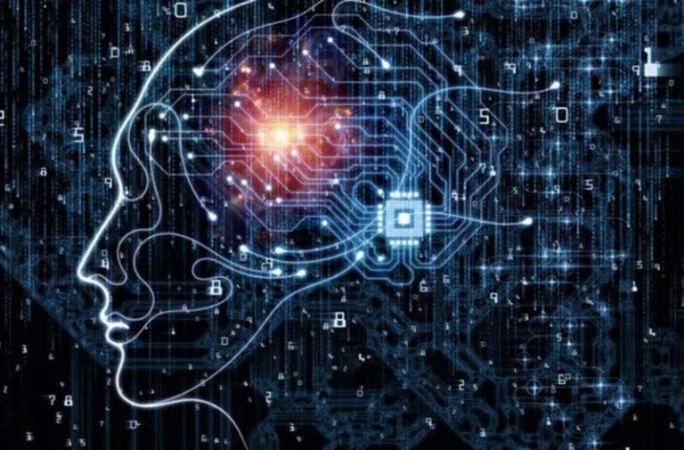 Digitaal silhouet van een menselijk hoofd met een lichtflits die de hersenen vertegenwoordigt