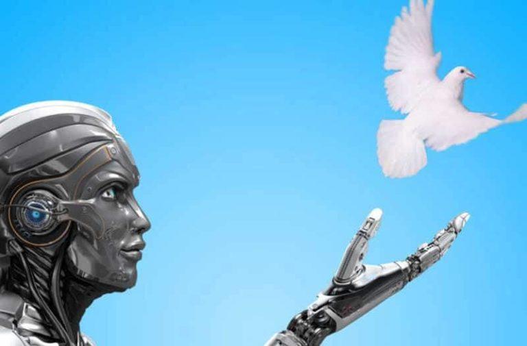 Robot laat een witte duif de blauwe lucht in vliegen