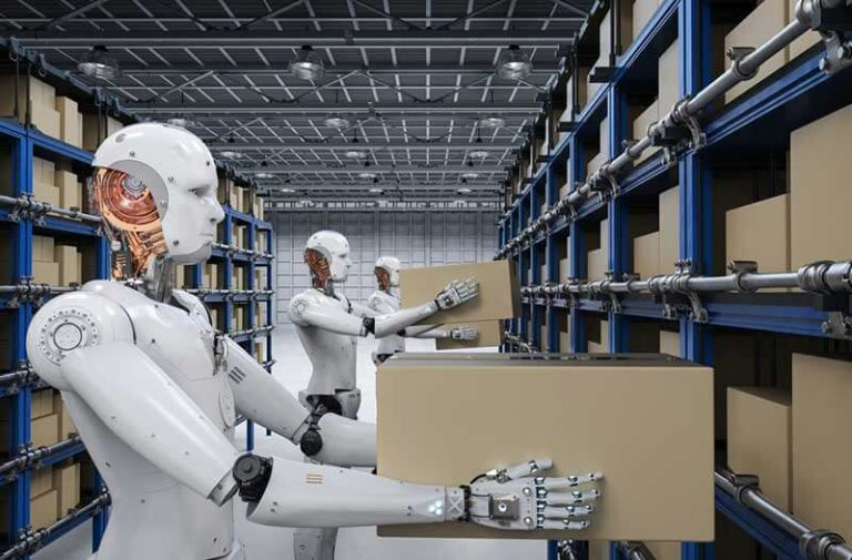Robot in a warehouse holding a cardboard box