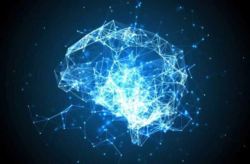 Abstracte representatie van de menselijke hersenen met lichtgevende lijnen en stippen